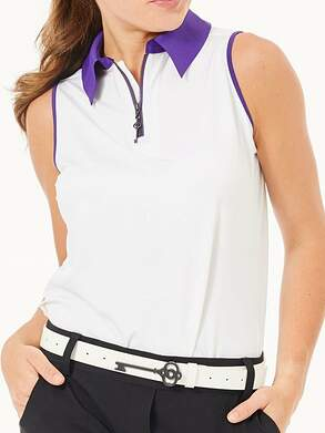 New Womens Belyn Key Keystone Sleeveless Polo Medium M Chalk/Purple MSRP $98 TSL0011-C/P