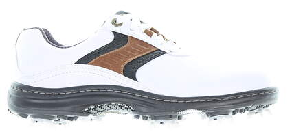 New Mens Golf Shoe Footjoy Contour Series Medium 7 White/Brown MSRP $110 54130