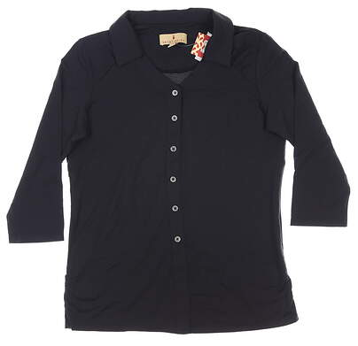 New Womens Sport Haley 3/4 Sleeve Top X-Large XL Black MSRP $85 H39105TM