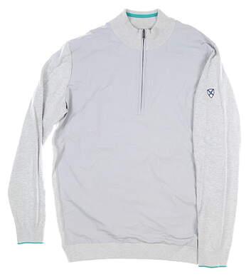 New W/ Logo Mens Adidas Adipure Hybrid 1/4 Zip Sweater Medium M Gray MSRP $150 AF2818