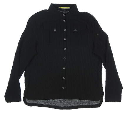 New Womens Jamie Sadock Crinkle Button Down Medium M Black MSRP $100 91617