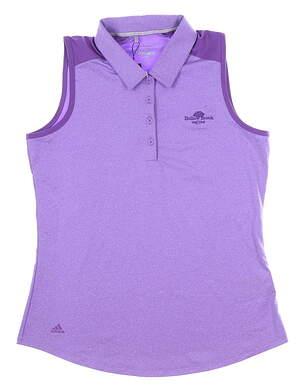 New W/ Logo Womens Adidas Ultimate Heather Sleeveless Polo Medium M Purple MSRP $55 DP5800