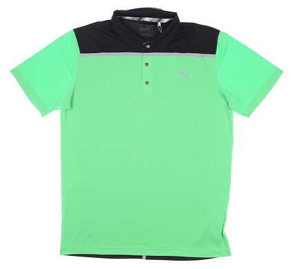 New Mens Puma Bonded Colorblock Polo Medium M Irish Green MSRP $70 577876 06