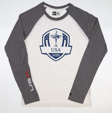 New Mens New Era 2020 Ryder Cup Raglan Crew Long Sleeve Tee X-Large XL White/Grey MSRP $42