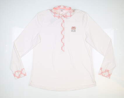 New W/ Logo Womens Fairway & Greene Golf Long Sleeve Polo Large L White MSRP $110 J32231