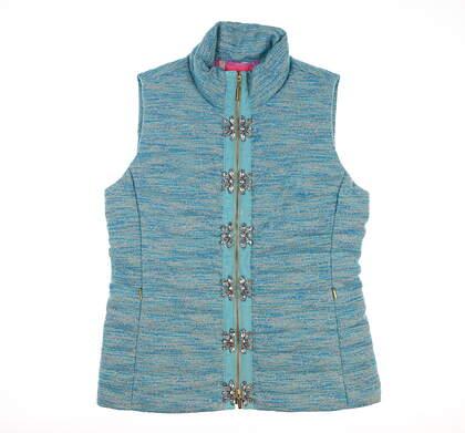 New Womens Lily Pullitzer Noella Vest Large L Blue MSRP $298 003815 44914P