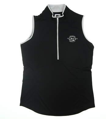 New W/ Logo Womens Footjoy Sleeveless   Zip Golf Polo Medium M Black 22923