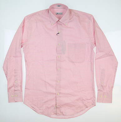 New Mens Peter Millar Gingham Button Up Small S Pink MF18W03NBL