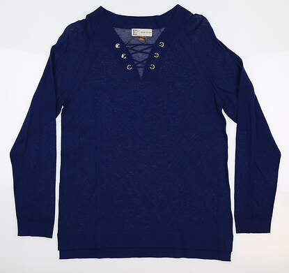 New Mens EP NY V-Neck Pullover Sweater Medium M Batik Blue 4130NAC