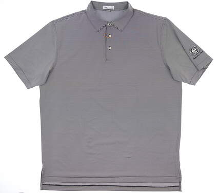New W/ Logo Mens Peter Millar Golf Polo Large L Black/ White ME0EK11S