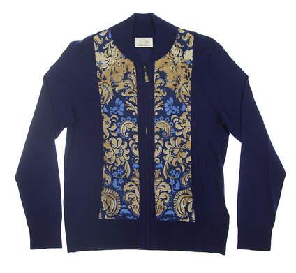 New Womens EP Pro Kings Landing Full Zip Sweater Medium M Navy/Gold 4242GD