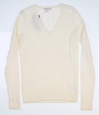 New Womens Fairway & Greene Perry Cable Sweater Small S White D32178
