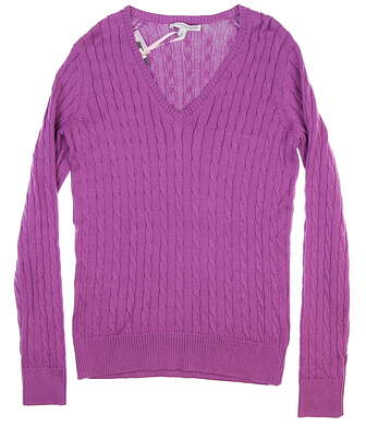 New Womens Fairway & Greene Perry Cable Sweater Small S Wild Orchid D32178