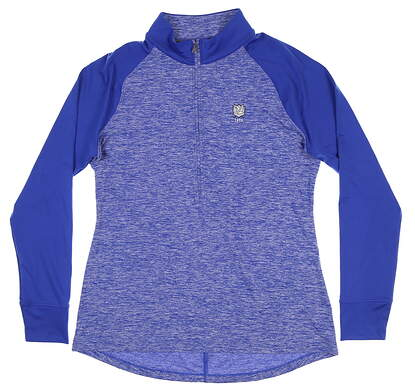 New W/ Logo Womens Under Armour 1/2 Zip Pullover Large L Blue UW2351