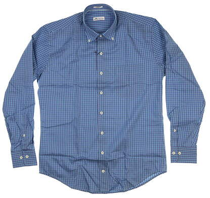 New Mens Peter Millar Button Up Medium M Blue MF18W05NBL
