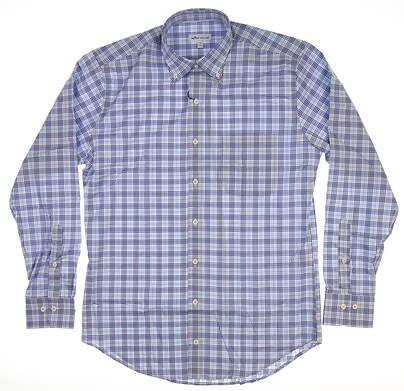 New Mens Peter Millar Button Down Medium M Blue MS19W15NBL MSRP $125