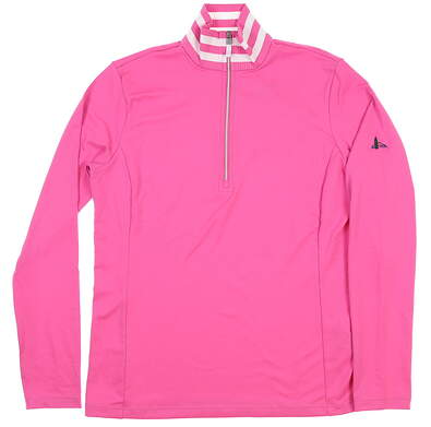 New W/ Logo Womens Ralph Lauren 1/2 Zip Pullover Medium M Pink