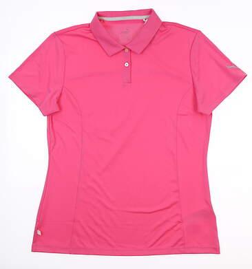 New Womens Puma Pounce Golf Polo Large L Pink 570527