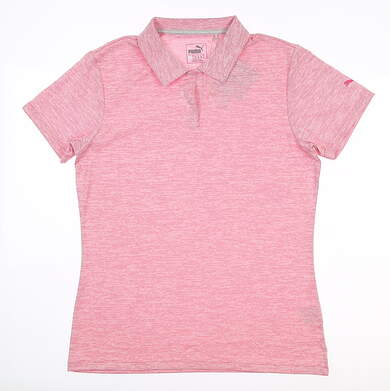New Womens Puma Space Dye Golf Polo Large L Pink 572371