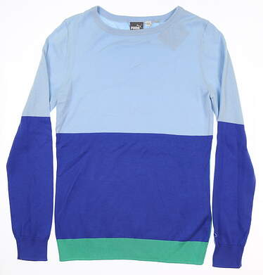 New Womens Puma Color Block Sweater Medium M Blue