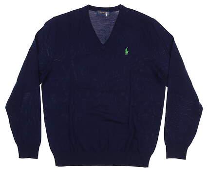New Mens Ralph Lauren V-Neck Golf Sweater Medium M Navy Blue
