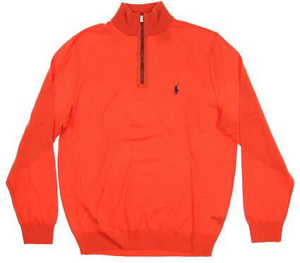 New Mens Ralph Lauren 1/4 Zip Sweater Large L Orange
