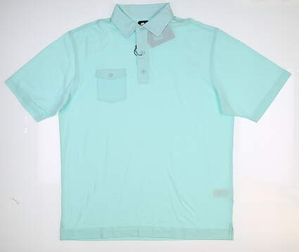 New Mens Footjoy Chest Pocket Polo Large L Blue 22841