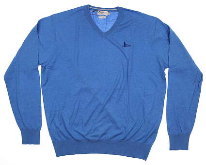 New W/ Logo Mens Peter Millar Crown Soft V-Neck Sweater Large L Mayan Turquoise MS17S10