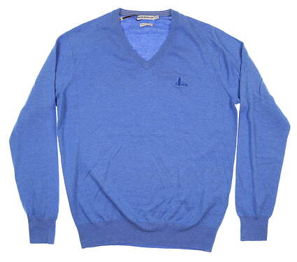 New W/ Logo Mens Peter Millar V-Neck Sweater Small S Blue MS16S10