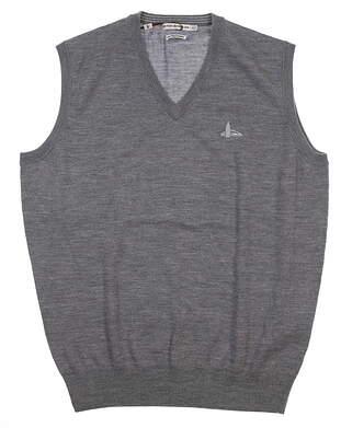 New W/ Logo Mens Peter Millar Merino Sweater Vest Medium M Gray MF16S32