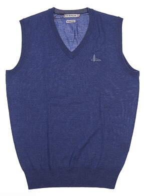 New W/ Logo Mens Peter Millar Merino Sweater Vest Small S Hawaiian Blue MF16S32