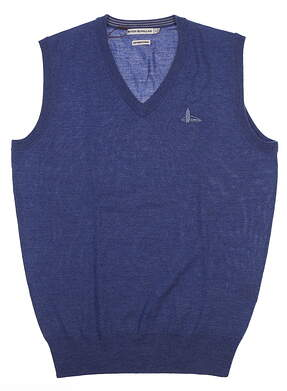 New W/ Logo Mens Peter Millar Merino Sweater Vest Small S Hawaiian Blue MF16S32