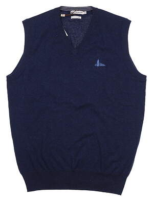 New W/ Logo Mens Peter Millar V-Neck Sweater Vest Small S Navy Blue MS16S11