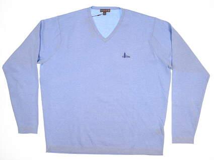 New W/ Logo Mens Peter Millar Crown Soft Sweater X-Large XL Blue MC0ES03