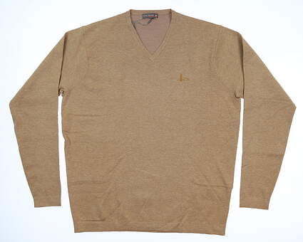 New W/ Logo Mens Peter Millar Crown Sport Sweater Large L Brown Sugar MC0ES03