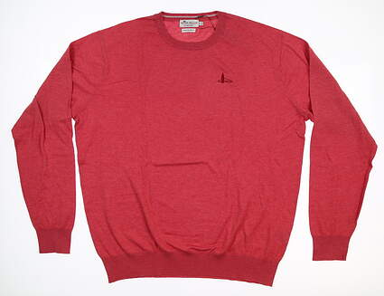 New W/ Logo Mens Peter Millar Crown Soft Crewneck Sweater Large L Cape Red MS17S11