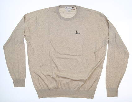 New W/ Logo Mens Peter Millar Crown Soft Crewneck Sweater Large L Light Sand MS17S11