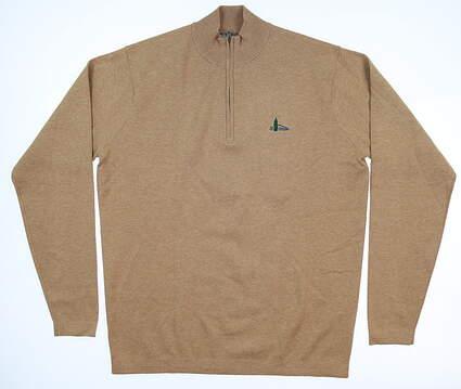 New W/ Logo Mens Peter Millar Crown Sport 1/4 Zip Sweater Medium M Brown Sugar MC0ES01