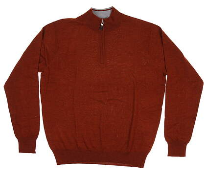 New Mens Peter Millar Crown Soft 1/4 Zip Sweater Large L Hickory MF18S52