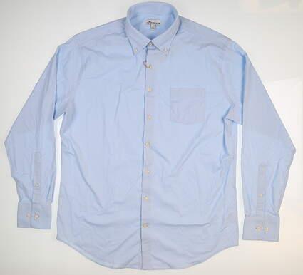 New Mens Peter Millar Bernie Performance Button Up Large L Cottage Blue MF18EW01BL