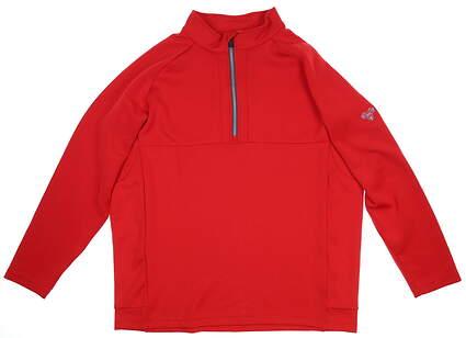 New W/ Logo Mens Sun Mountain 1/4 Zip Pullover Medium M Red