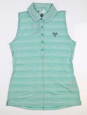 New W/ Logo Womens Under Armour Sleeveless Golf Polo Large L Green UW0457