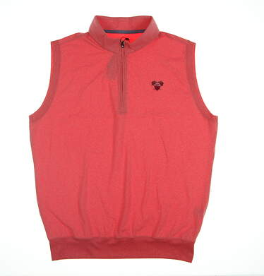 New W/ Logo Mens Turtleson 1/4 Zip Golf Vest Large L Orange