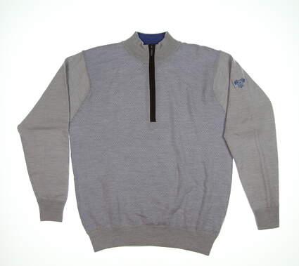 New W/ Logo Mens Turtleson Birdseye Merino 1/4 Zip Sweater Medium M Gray MF16S07