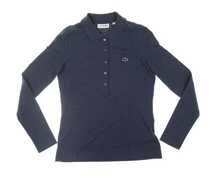 New Womens Lacoste Long Sleeve Polo Small S (36) Navy Blue PF7841 MSRP $99.50