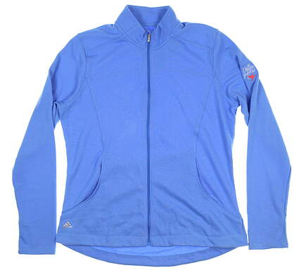 New W/ Logo Womens Adidas Essentials Full Zip X-Large XL Blue B88424