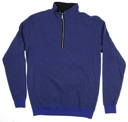 New Mens Straight Down 1/4 Zip Sweater Large L Blue 60370
