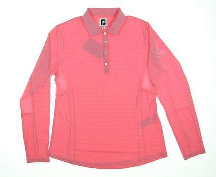 New W/ Logo Womens Footjoy Dot Print Sun Protection Shirt Medium M Pink 27548