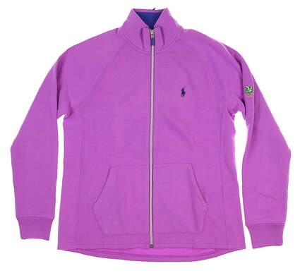 New W/ Logo Womens Ralph Lauren Full Zip Mock Neck Large L Purple MSRP $115