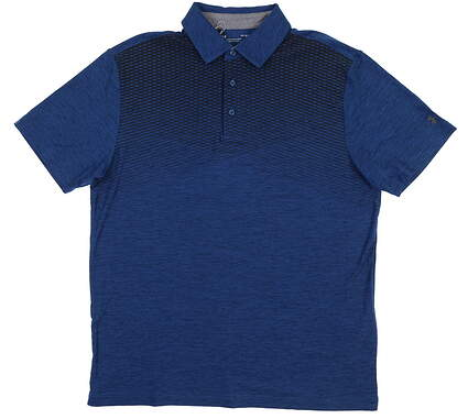 New Mens Under Armour Golf Polo Large L Blue UM0567 MSRP $75